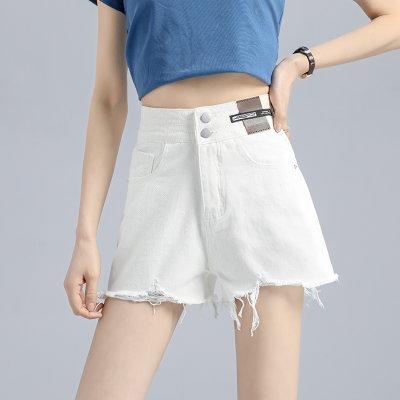 2021春季新款纯色黑白高腰牛仔短裤女两个色S~XL                        2021春季新款纯色黑白高腰牛仔短裤女两个色S~XL