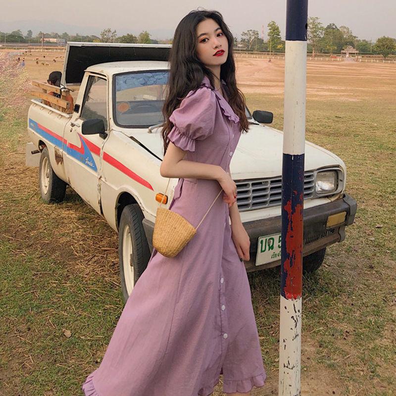 法式复古小众连衣裙女2021新款收腰气质中长款桔梗裙春夏韩版裙子