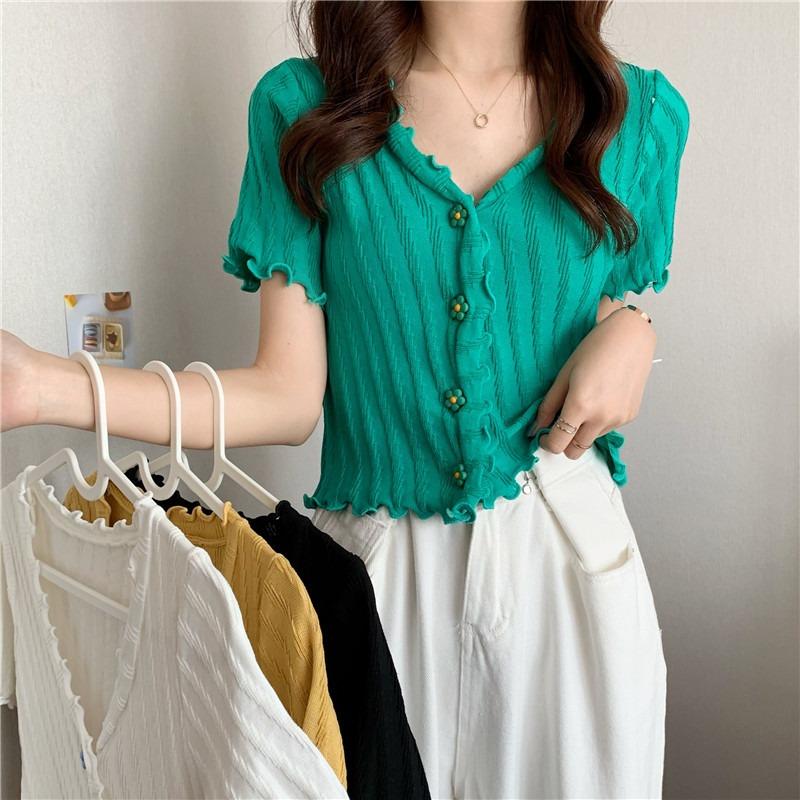 木耳边白色开衫v领短袖针织衫女夏季2021年新款韩版宽松短款上衣