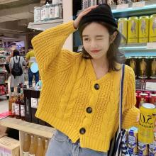 8008#2019新款韩版宽松麻花毛衣女针织开衫外套chic慵懒风上衣