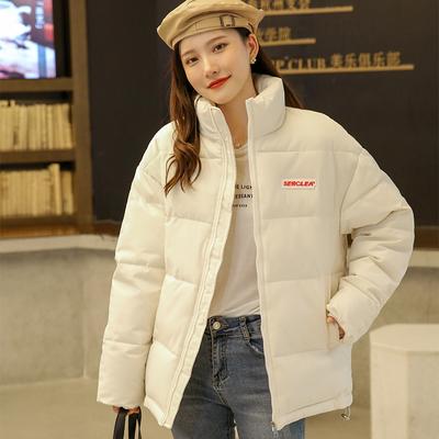 实拍2021年新款韩版爱心刺绣獭兔毛里面加绒羽绒服短款学生女棉服
