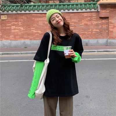 实拍(6535棉2021春秋欧洲站韩版宽松上衣假两件长袖T恤女