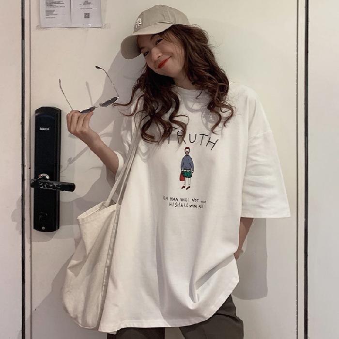 实拍2020年新款韩版宽松印花中长款短袖T恤学生半袖上衣女装ins潮