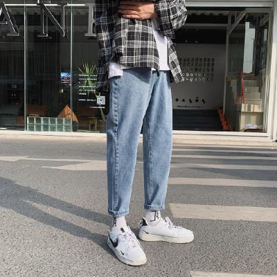 春季韩版九分裤子男新款百搭潮流牛仔裤青年直筒宽松男士小脚牛仔