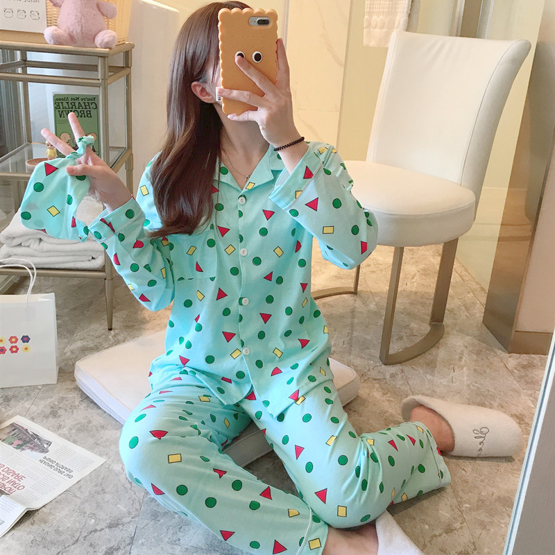 牛奶丝小几何图案日系蜡笔小新同款秋季长袖男女生睡衣家居服套装 -