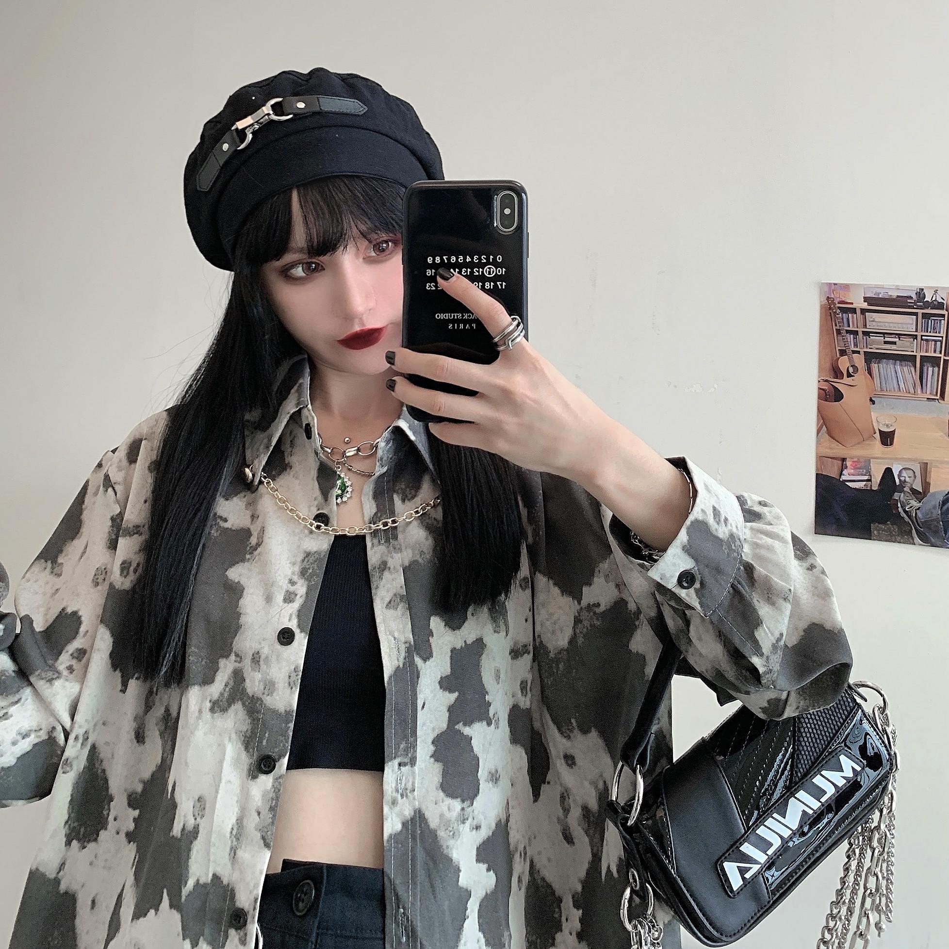 【实拍控价37¥】灰色扎染衬衫女百搭复古暗黑衬衣潮