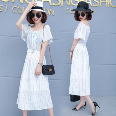 2019韩版夏季连衣裙中长款女条纹短袖气质荷叶喇叭高腰显瘦女装潮