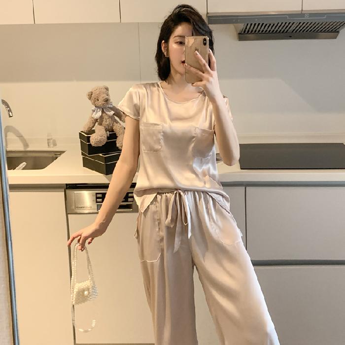 夏天真丝绸睡衣女夏季冰丝薄款短袖长裤加大码春秋家居服两件套装