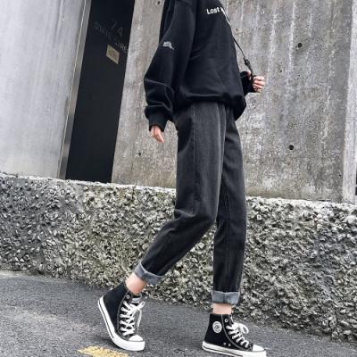 黑烟灰牛仔裤女2019秋冬韩版高腰宽松老爹萝卜九分哈伦直筒阔腿