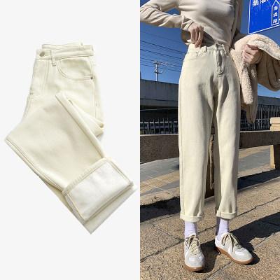 2021春夏新款米白哈伦直筒宽松牛仔裤女                        2021春夏新款米白哈伦直筒宽松牛仔裤女