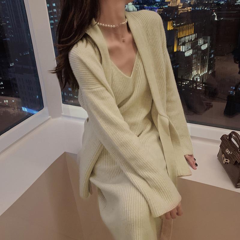 南夕姐姐针织裙套装女秋冬新款显瘦名媛气质轻熟风毛衣裙子两件套