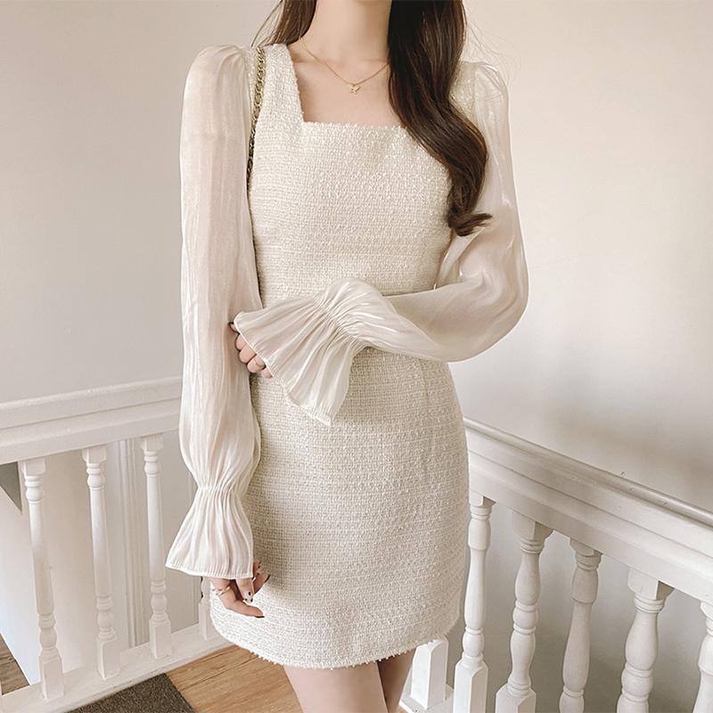 实拍现货 2021年新款春秋法式小香风醋酸锻高级感名媛气质连衣裙