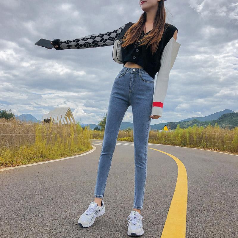 969烟灰色牛仔裤女秋季新款高腰韩版百搭修身显瘦显高九分小脚裤 -