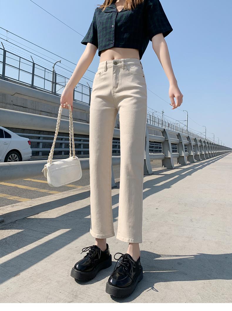2021新款韩版烟管裤chic高腰弹力显瘦九分直筒裤 -