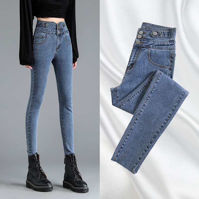 高腰牛仔裤女小脚秋装2020年新款显瘦灰色显高修身紧身女裤子潮 -