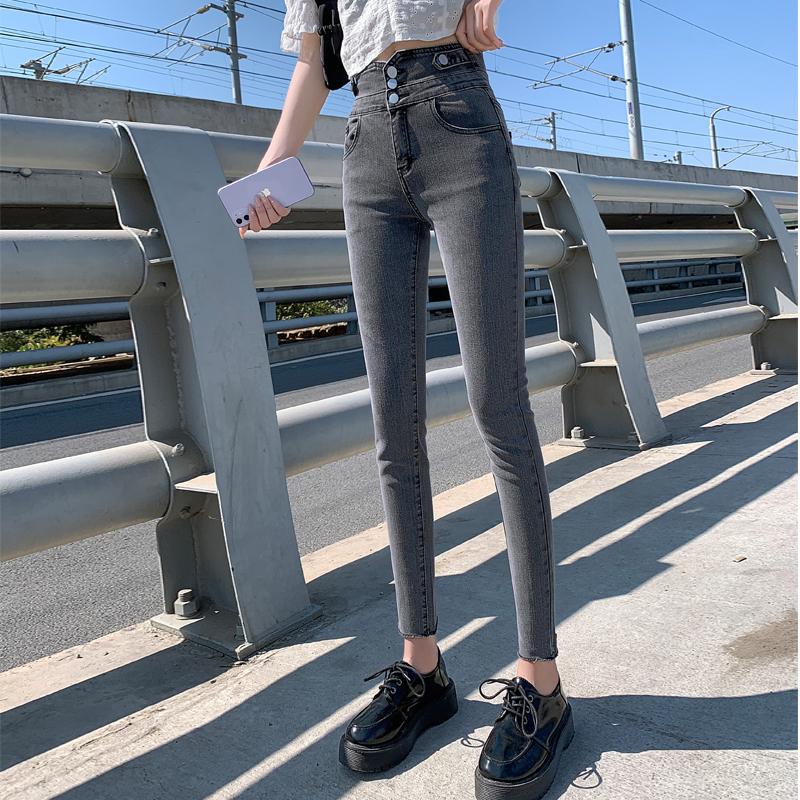 高腰牛仔裤女小脚秋装2021年新款显瘦灰色显高修身紧身女裤子潮 -