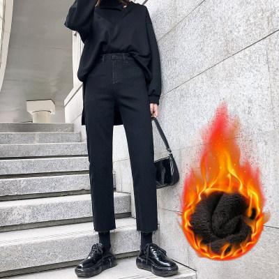 冬季2021年新款黑色加绒牛仔裤女高腰显瘦九分直筒烟管裤                        冬季2021年新款黑色加绒牛仔裤女高腰显瘦九分直筒烟管裤