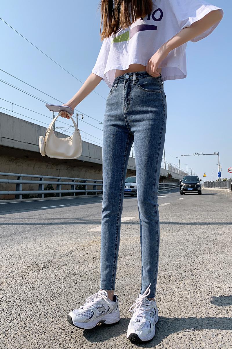 高腰浅色牛仔裤女2021新款春季显瘦紧身浅蓝色小脚女裤子外穿 -