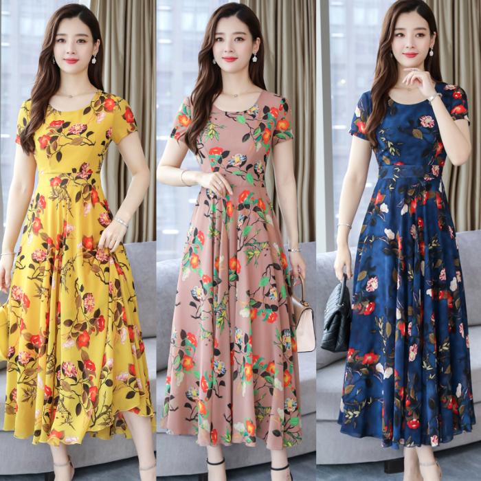 妈妈装连衣裙春夏装新款短袖中老年女装韩版宽松显瘦大码时尚裙子 -