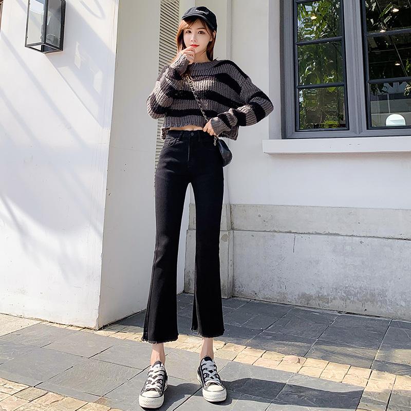 牛仔裤女2020年秋季新款高腰显瘦韩版学生百搭喇叭裤 黑色九分裤 -