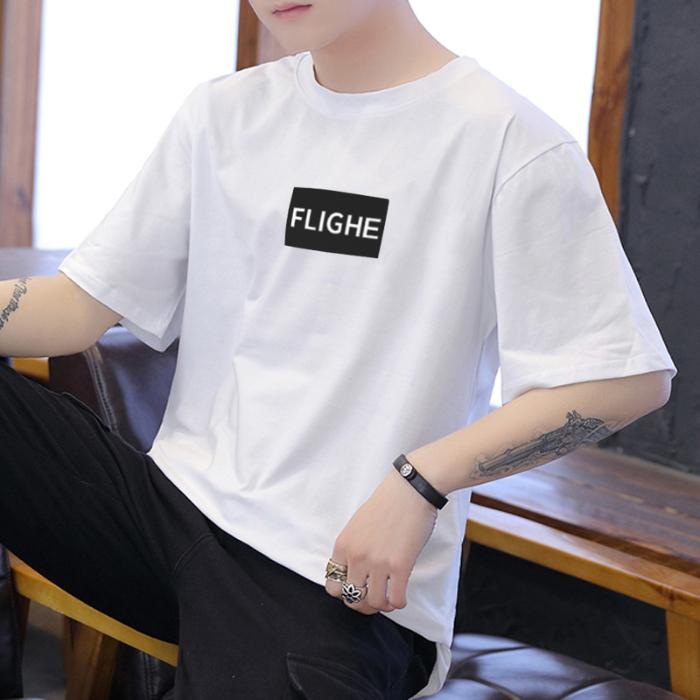 xk【单件图】短袖t恤男韩版宽松大码五分袖上衣