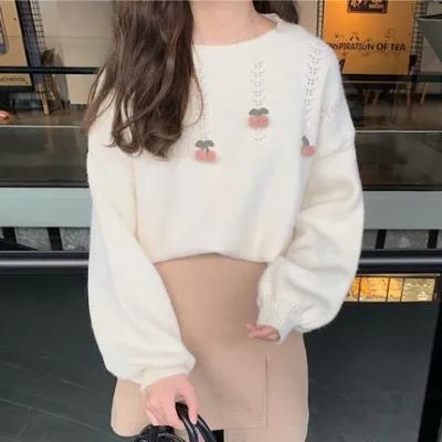 秋冬季新款打底毛衣女宽松2021韩版套头长袖立体樱桃针织衫上衣女