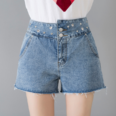 2019新款外穿牛仔短裤女夏韩版宽松学生百搭高腰裤腿卷边破洞热裤