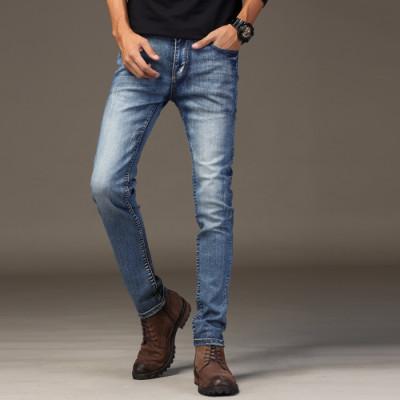 牛仔裤男弹力潮流青年修身做旧牛仔长裤