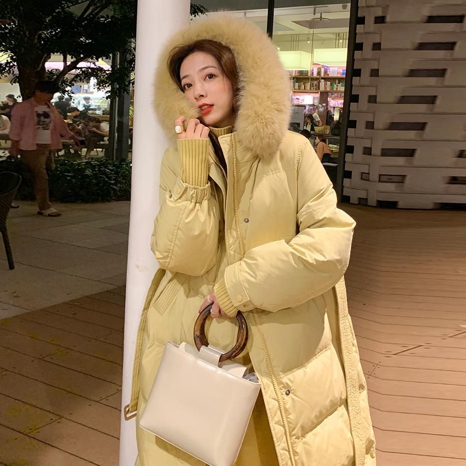 官网图 夏诗文同款白鸭绒女2021新款冬中长款加厚外套羽绒服