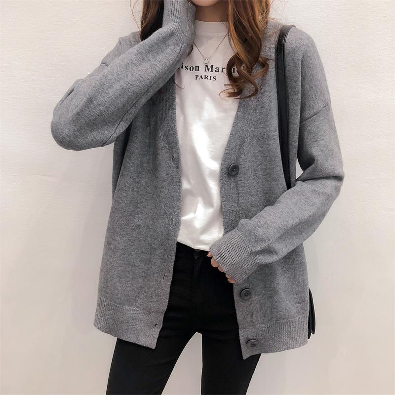 2021春季开衫宽松针织毛衣女衫外套港味慵懒风V领慵懒风新款韩版 -