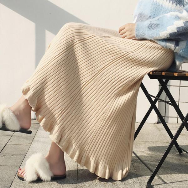 2020秋冬荷叶摆针织半身裙女韩版高腰A字毛线裙中长款大摆裙 -