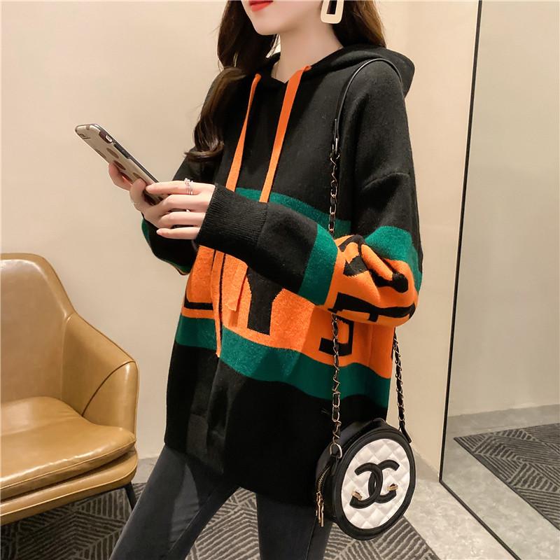 【大量现货】针织连帽套头毛衣女2020年新款韩版宽松外套中长款上衣 -