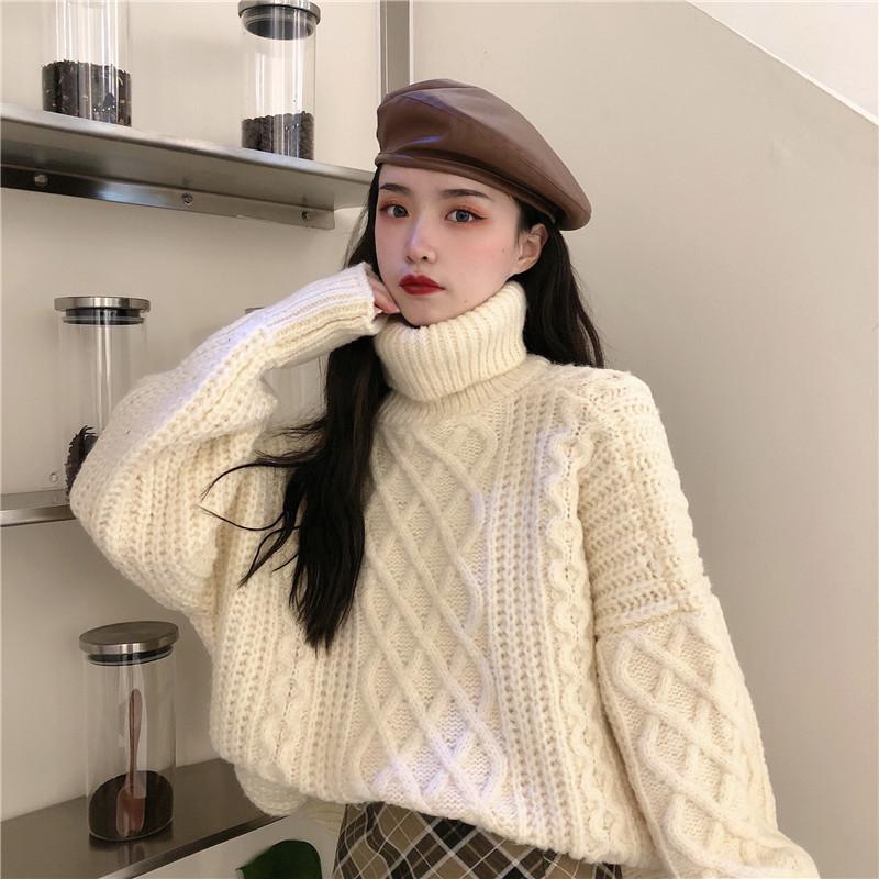 高领大粗线毛衣女麻花加厚短款秋冬2020新款韩版宽松慵懒套头外穿 -