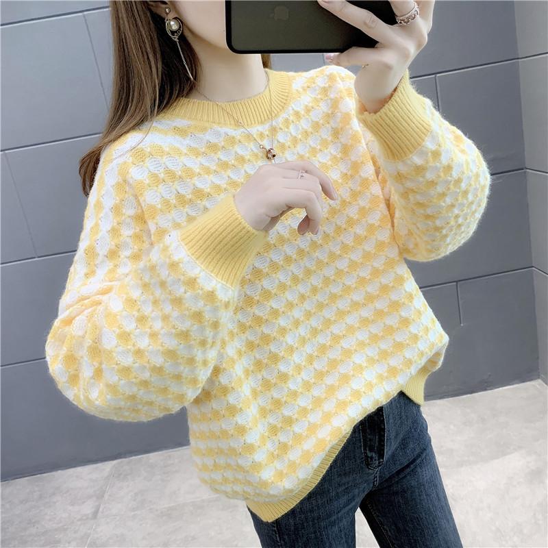 时尚拼色格子针织女士毛衣2020年秋冬季新款韩版宽松洋气百搭女潮 -