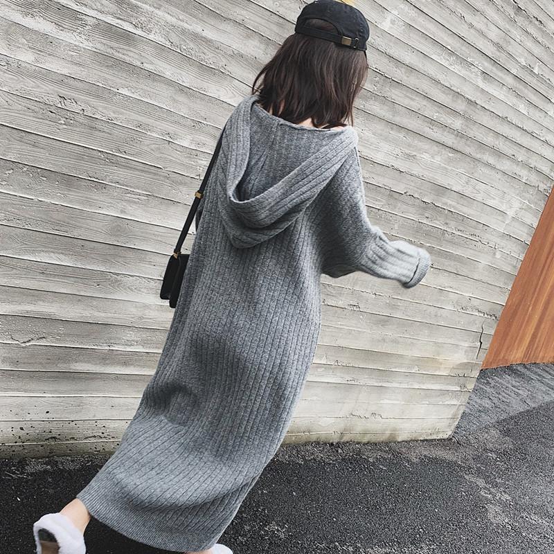 2021春秋新款连帽针织连衣裙女胖mm宽松藏肉显瘦过膝打底毛衣裙子 -