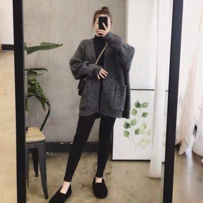 森系洋气毛衣女宽松外穿法式慵懒风针织开衫矮个子外套女复古秋冬 -