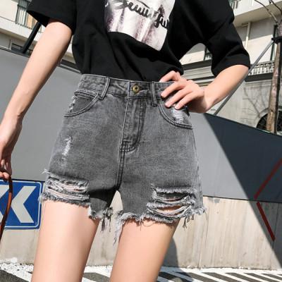 2019春季新款a字浅色牛仔短裤女夏宽松高腰灰色超短裤阔腿热