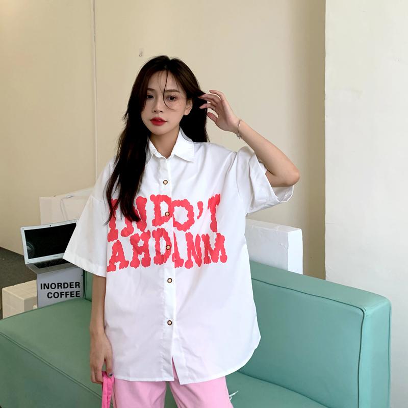 2021夏季街头潮流字母印花短袖衬衫男女韩版宽松百搭半袖衬衣