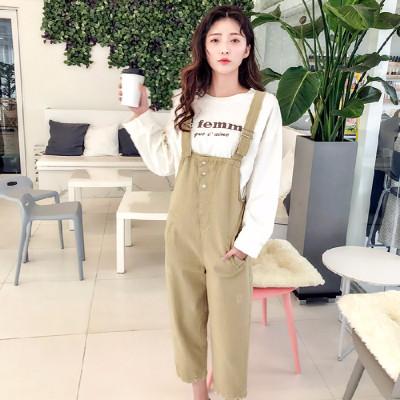 2019新款八分宽松休闲韩版时尚女士背带裤