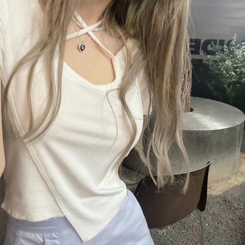 16号出货 实价官图100%纯棉系带短袖T恤女新款辣妹不规则修身上衣