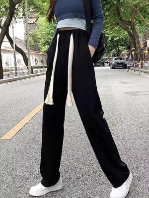 抖音质量CVC米尼 网红系带宽松黑色直筒长裤                        抖音质量CVC米尼 网红系带宽松黑色直筒长裤