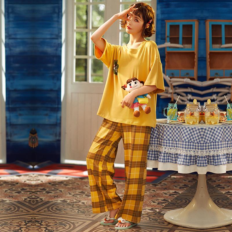 纯棉睡衣2020夏季新款短袖长裤两件套超级休闲可爱简单的套装 -