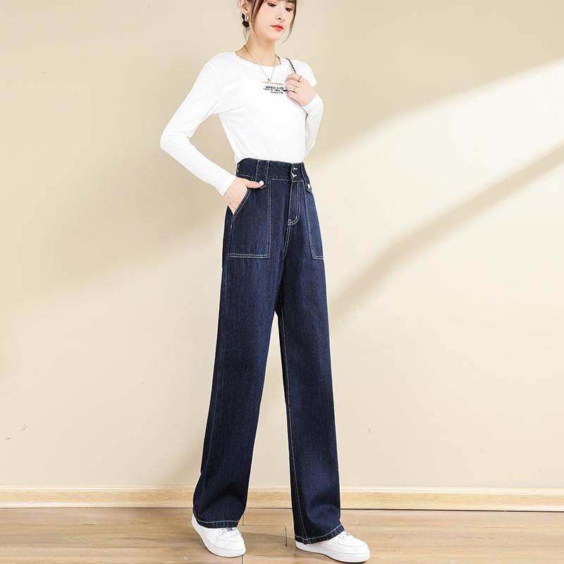 实拍阔腿牛仔裤女高腰新款2021年秋季宽松显瘦垂感直筒拖地裤子女