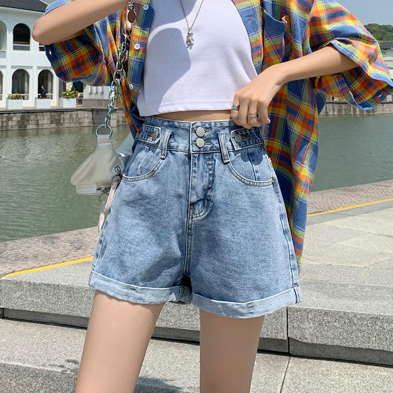 【实拍】高腰牛仔短裤女夏季宽松阔腿a字裤2021年新款翻边黑色短裤