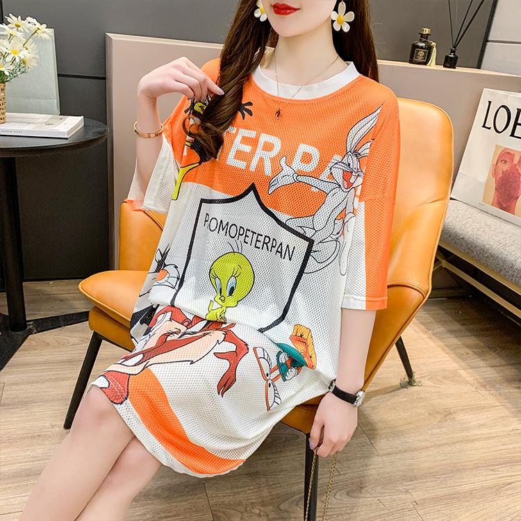 3921#  涤纶100  长款夏季新款宽松卡通T恤裙子