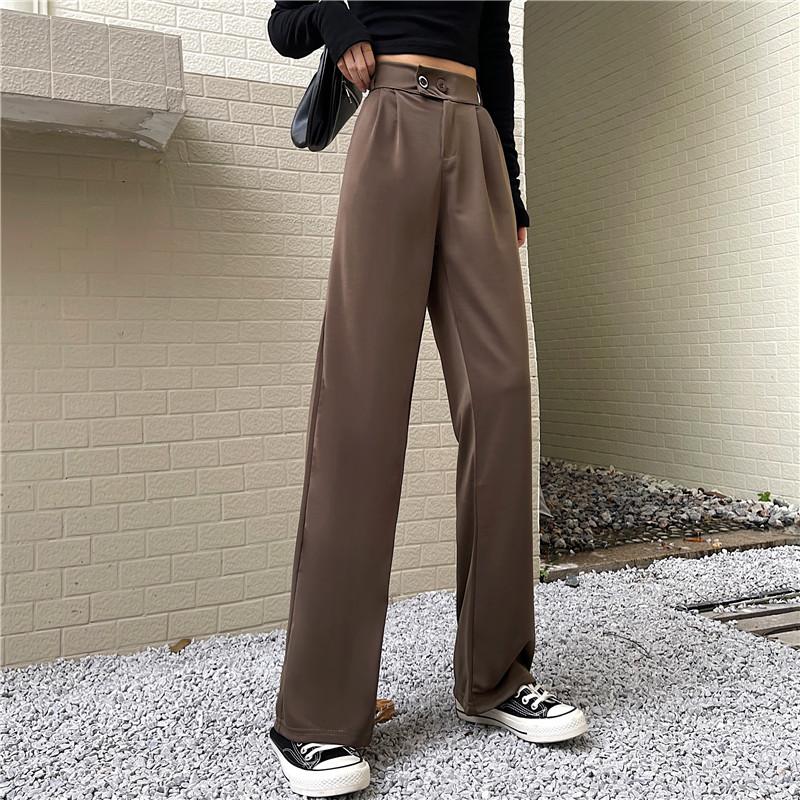 41168#【实拍】阔腿裤女2021新款韩版高腰垂感西装裤复古休闲裤