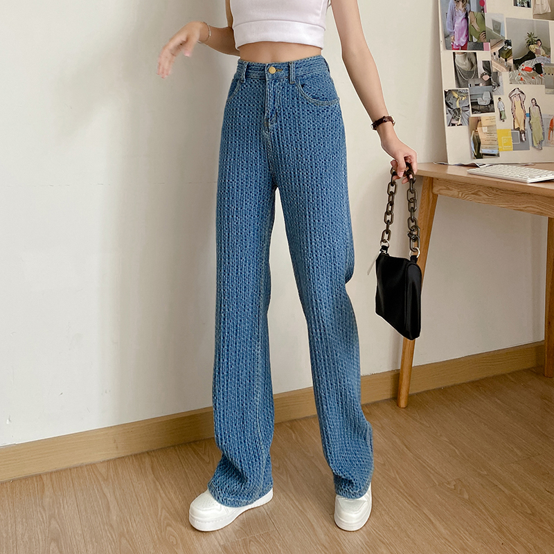 实拍实价~编织牛仔裤女直筒宽松拖地阔腿裤夏季新款高腰显瘦裤子