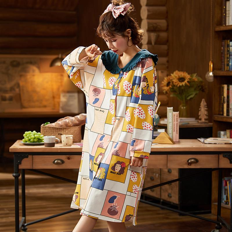 新款睡裙女春秋季纯棉长袖家居服秋天甜美可爱女士网红睡衣开衫 -