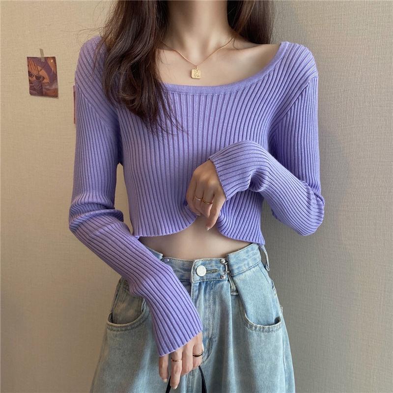 【源头厂家直供】秋装2021新款女短款两面穿v领打底针织衫长袖上衣