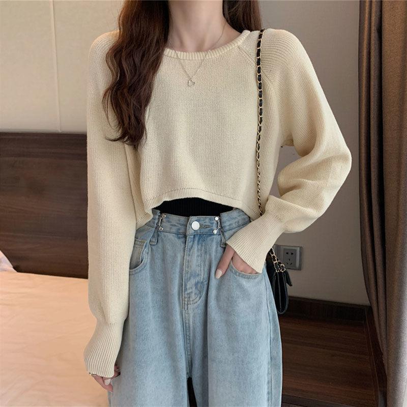 【源头厂家直供】针织衫女秋季薄款2021新款套头短款长袖宽松上衣潮